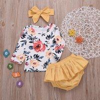 Floral Top Ruffle Shorts and Headband Set