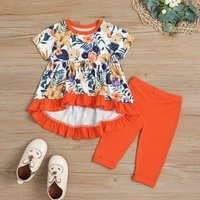 Floral Print Ruffled-hem Top and Solid Pants Set for Baby Girl