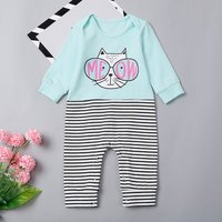 MEOW Cat Pinstriped Baby's Jumpsuit