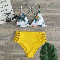 Pineapple Crisscross Lace-up Swimwear Set