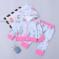 Baby Girl Floral French Terry Jacket & Pant Set