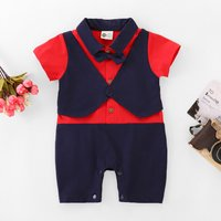 Faux-two Gentleman Romper with Bow Tie