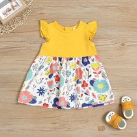 Floral Pattern Splice Dress for Baby and Toddler Girl