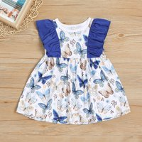 Butterfly Pattern Ruffled Sleeveless Dress for Baby and Toddler Girl