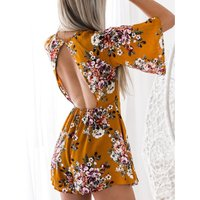 Women's Floral Backless  Romper