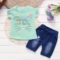 Crazy Cat Lady Tee and Denim Shorts Set