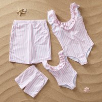 Ruffle Striped Family Swimsuits