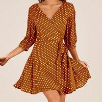 Allover Polka Dots V-neck Wrap Dress