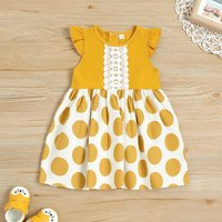 Ruffle-sleeve Polka Dots Dress for Baby and Toddler Girl