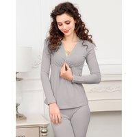 Women's Maternity  V Neck Long-sleeve Pajamas - Top And Leggings