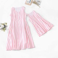Striped Matching Dress for Mom and Me