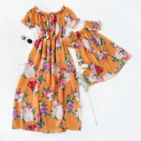 Off-the-shoulder Matching Dress for Mommy and Me