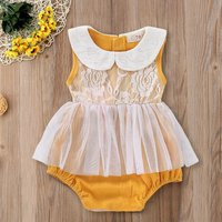Doll Collar Lace Overlay Romper