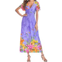 Flowers Print Deep V-neck Elastic Maxi Dress
