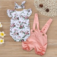 3-piece Ruffle Floral Suspender Set