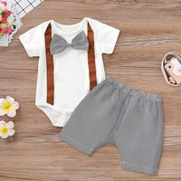 Bow Tie Bodysuit and Striped Pants Set
