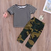 Striped Top and Camouflage Pants Set