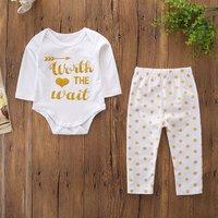 Baby 2-piece 'Worth The Wait' Bodysuit Polka Dots Bottom