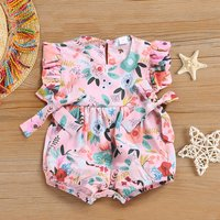 Ruffle Floral Romper with Bows