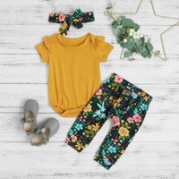 3-piece Solid Bodysuit Floral Print Pants and Headband Set for Baby Girl
