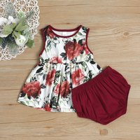 Beautiful Floral Pattern Dress and Solid Shorts Set for Baby Girl