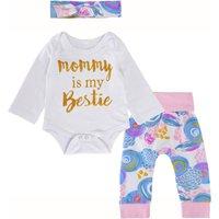 'Mommy is My Bestie' Bodysuit , Floral Bottom and Headband  Baby 3 Piece Set