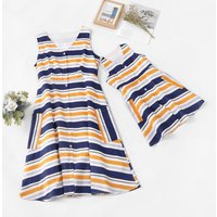 Striped Matching Dress with Pocket for Mommy and Me