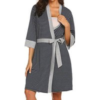 Maternity Stripe Tie Wrap Half-sleeve Dress