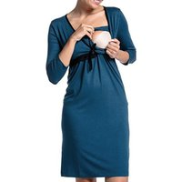 Maternity Lace Bow 3/4 Sleeve Dress