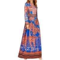 Tribal Print Long-sleeve Maxi Dress