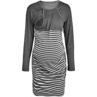 Maternity Stripe Round Neck Long-sleeve Dress