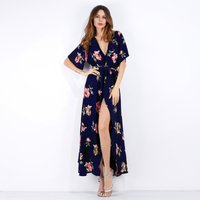 Women's Floral Print Wrap Maxi dress With Belt