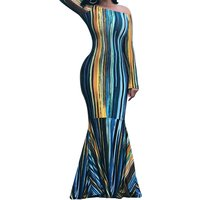Colorful Stripe Long-sleeve Maxi Dress
