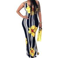 Floral Stripe Strap Maxi Dress