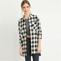 Women's Button Down Plaid Shirt