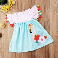 Flamingo Embroidered Tassel Baby Girls Dress