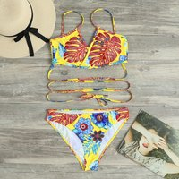 2-piece Yellow Lace-up Swimsuit