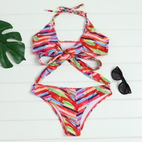 Colorful Blocks Halter Bikini Set