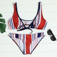Striped Front Lace-up Bikini Set