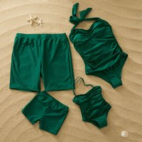 Pure Green Family Matching Swimsuit