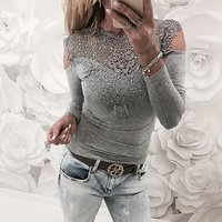 Women's Lace Collar  Cold Shoulder  Tee