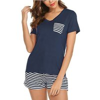 Women's Striped Short-sleeve Pajamas - Top And Shorts