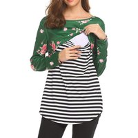 Women's Floral Striped Maternity Long-sleeve Tee