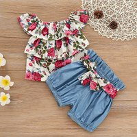 Ruffle Layered Floral Top and Denim Shorts Set