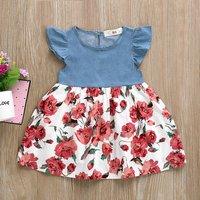 Ruffle Denim Stitching Floral Dress