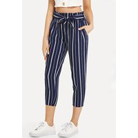 Striped Elastic Waist Casual Pants
