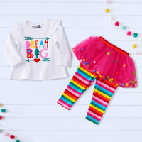 Mosaic Baby Girls 2 Pieces Ruffle Top Rainbow Stripe Culottes  Set