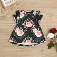 Pretty Floral Pattern Ruffled Sleeve Dress for Baby Girl