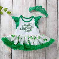 Happy St. Patrick's Day Flutter-sleeve Romper Skirt with Headband