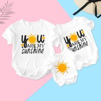 You Are My Sunshine Letter Printed Matching T-shirt